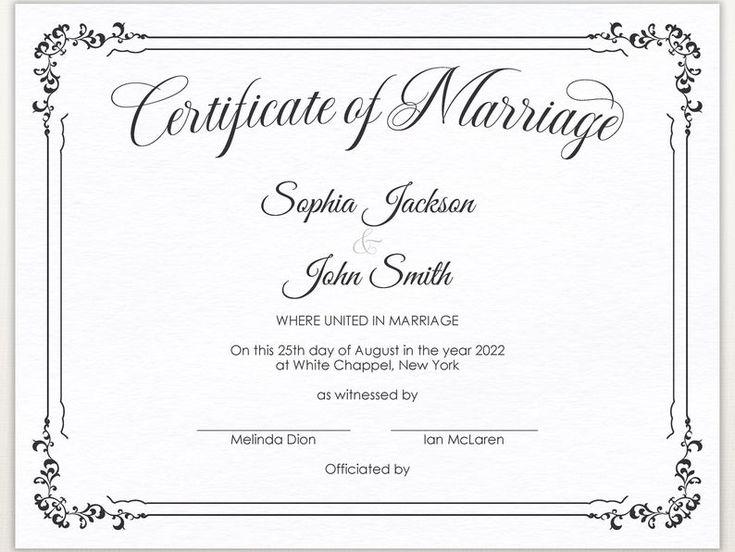 editable minimalist wedding certificate template printable