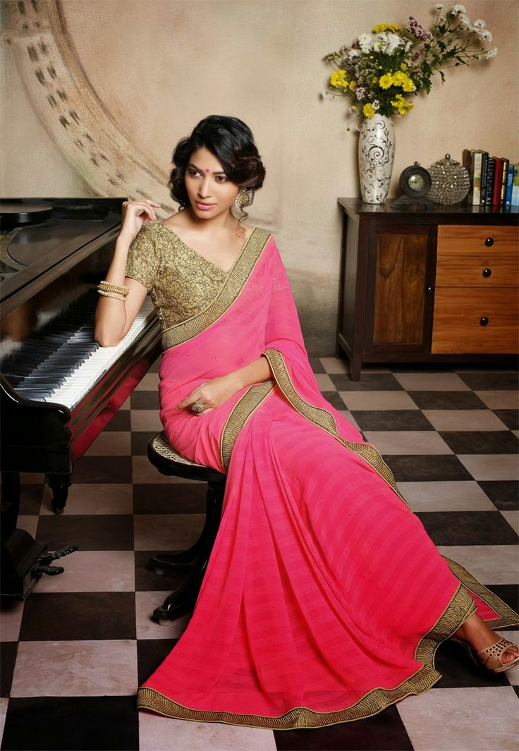 Pink Color Chiffon Designer Saree and gold glitter blouse