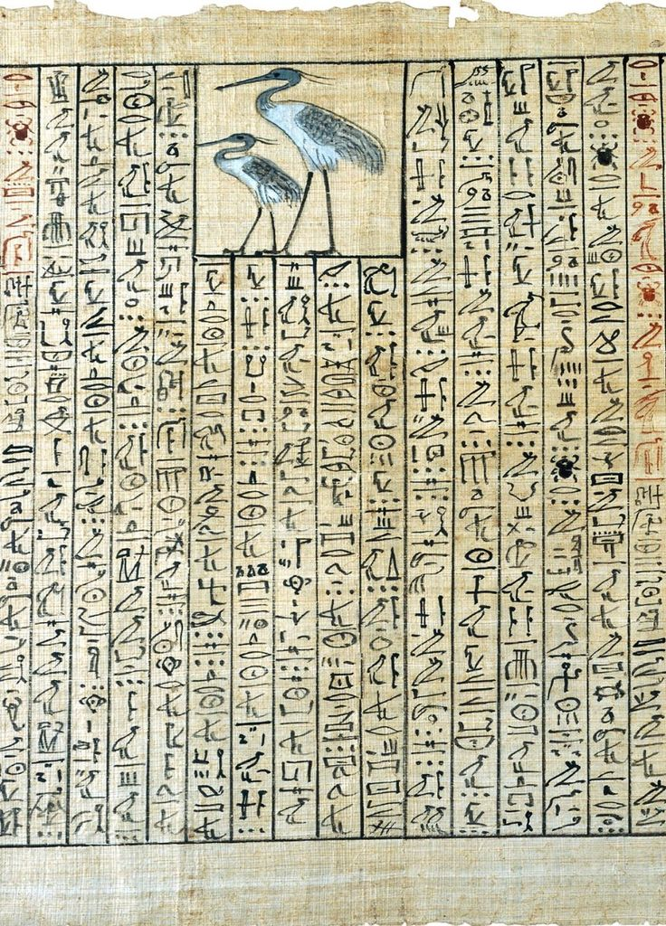 """Chapter """"For making the transformation into a Heron"""" from the Book of Coming Forth by Day. Papyrus of Nakht. Thebes, Egypt, Late 18th Dynasty, 1350-1300 BCE."""
