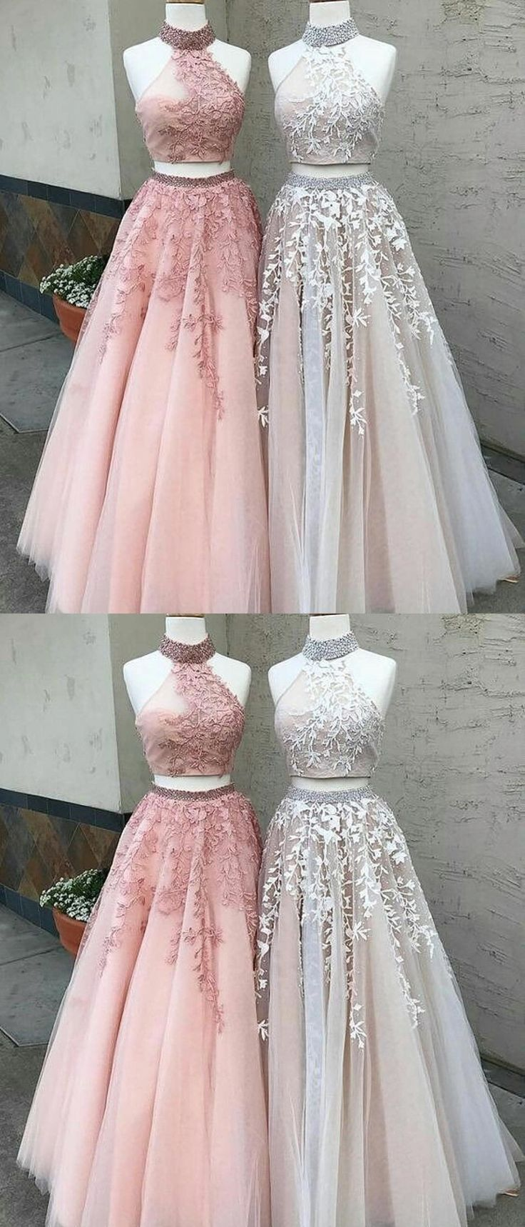 elegant 2 pieces prom party dresses with appliques, pink fashion halter formal evening gowns ,light grey ball gowns. #longpromdresses