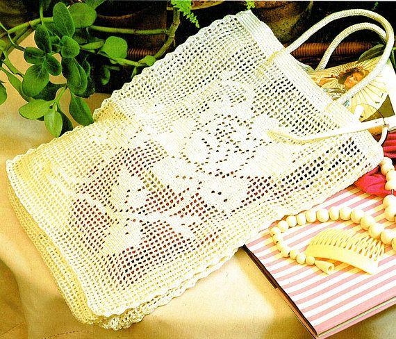 PDF Vintage 1970s Floral 'ROSE' Motif String Bag Filet