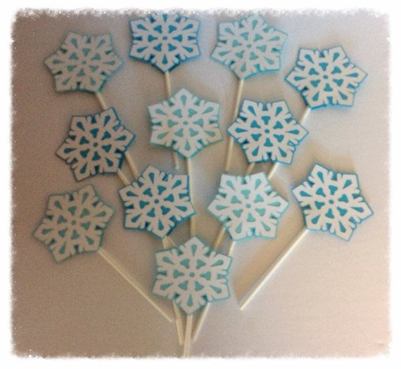 12 snowflake Inspired cupcake toppers Winter by 2inspiredcrafters