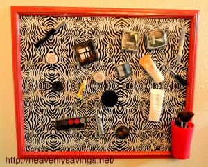 How to make a magnetic makeup board. #organization #DIY
