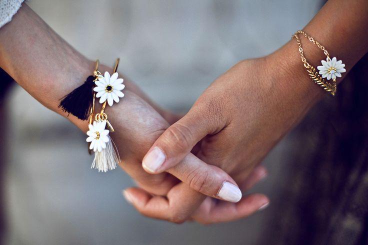 Luli Art Bijoux - Daisy Collection #handmade #floral #jewelry #flower #daisy #bracelets