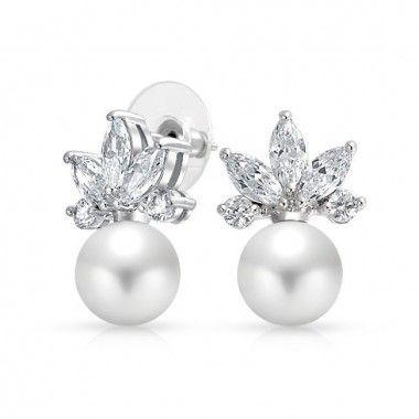 Boucles d'oreilles mariage perle Eventail