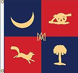 Flag of Parker's Company, South Carolina Light Artillery (Marion Artillery).  Marion Light Artillery was organized during the summer of 1861. Most of its members were from Marion, South Carolina. During January, 1865, it was assigned to A. Rhett's Brigade. Ended the war in North Carolina
