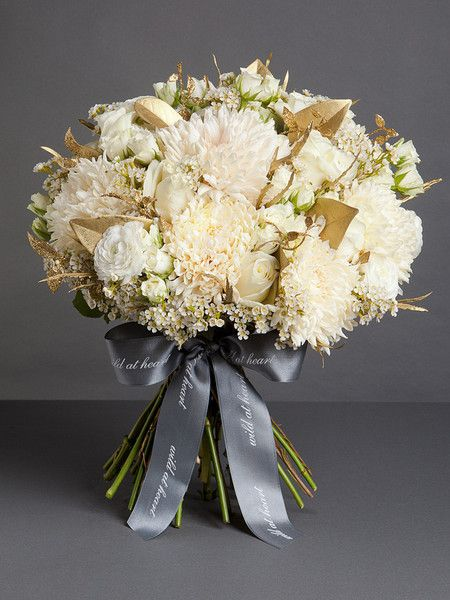 WHITE AND GOLD VINTAGE wedding flower bouquet, bridal bouquet, wedding flowers, add pic source on comment and we will update it. www.myfloweraffair.com can create this beautiful wedding flower look.
