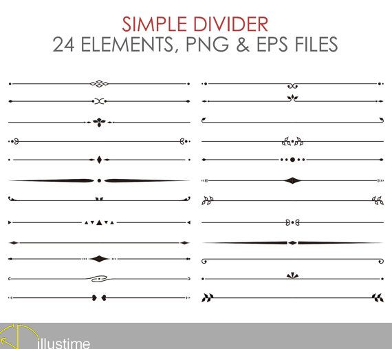 Simple Divider 24 Elements Eps Png Instant Download Etsy Text Dividers Divider Clipart Bullet Journal Dividers