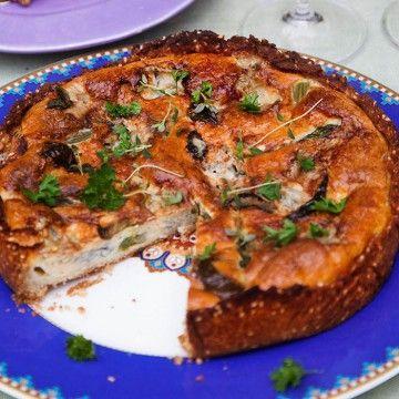 Gorgonzolapaj med sparris (LCHF) - Recept - Tasteline.com