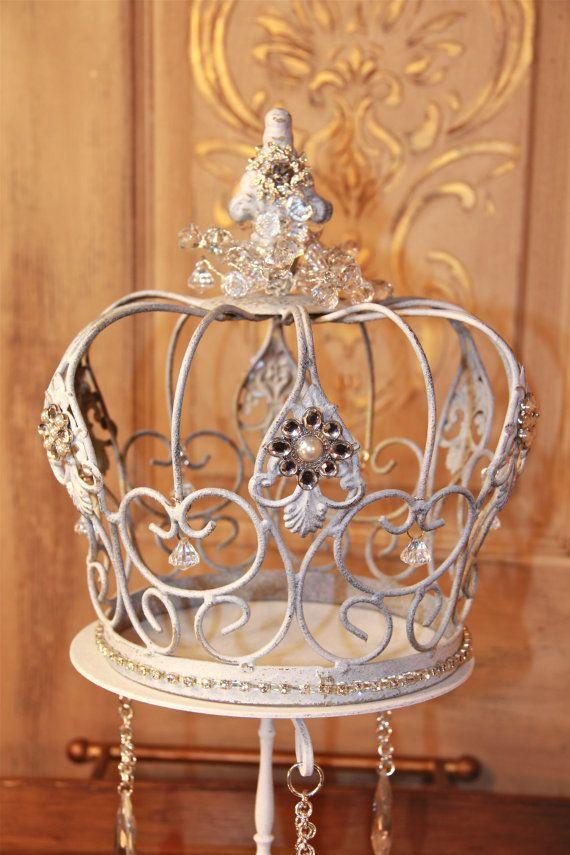 Embellished White Metal Crown Decorative Crown Wedding Decor Cake Topper French Decor Mediterranea Design Studio Distressed Crown