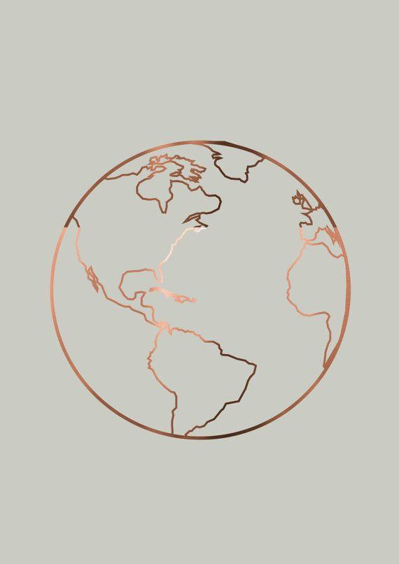 Koper folie reizen prenten Set van 3 reizen door PeppaPennyPrints