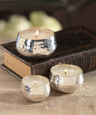 Hammered Nickel Candle Bowl