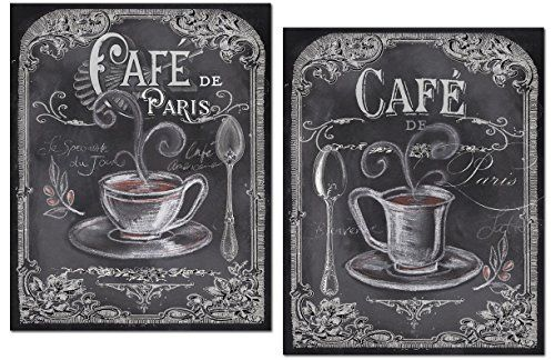 Lovely Chalkboard-Style French Cafe De Paris Coffee Set by Tre Sorelle Studios; Two 11x14in Unframed Paper Posters (Printed On Paper, Not Chalkboard)