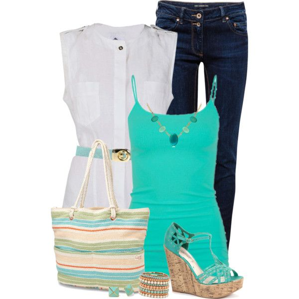 Mint Wedges & Skinny Jeans, created by daiscat on Polyvore