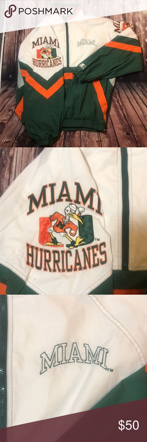 Vntg men's 1:/2 Zip Miami hurricanes pullover Such A nostalgic piece for us that grew up in the 90's is this vintage starter brand , 1/2 zip , high neck , Miami  hurricanes pullover ... it's a men's Vntg lg , so men's modern medium fits best ...there are no issues , yet it's vintage and was wore, and a good bit ... and as it will be laundered before ship , if u have sensitivities to anything , I'd suggest u shop accordingly ... STARTER Jackets & Coats Windbreakers