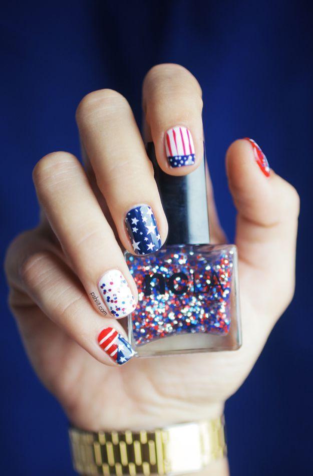 """""""Американский флаг"""" на коротких ногтях ::: onelady.ru ::: #nail #nails #nailart #manicure"""