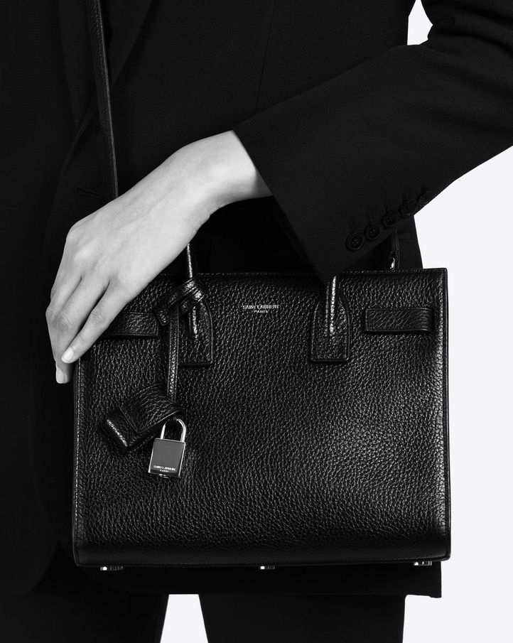 saintlaurent, Classic Baby SAC DE JOUR BAG IN Black Grained ...