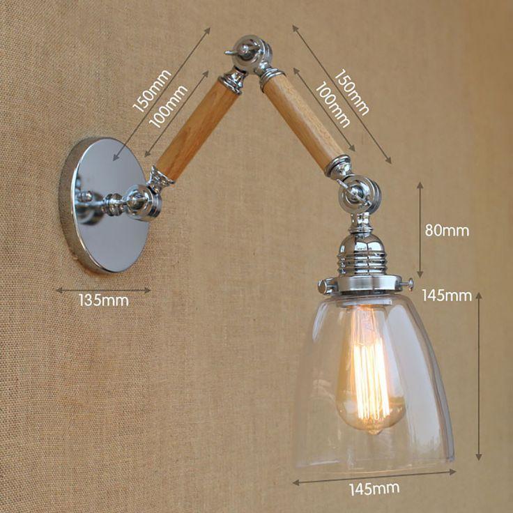 Дерево стекло оттенок регулируемая swing arm промышленного Старинные настенные лампы e27 привело современный декоративный свет для спальни гостиной бар купить на AliExpress