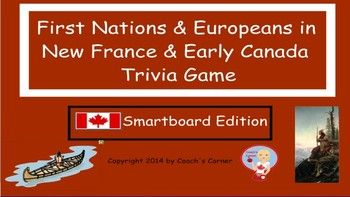 First Nations and Europeans in New France Smartboard Trivia Game - An engaging way to review content from the Ontario Grade 5 Social Studies curriculum!