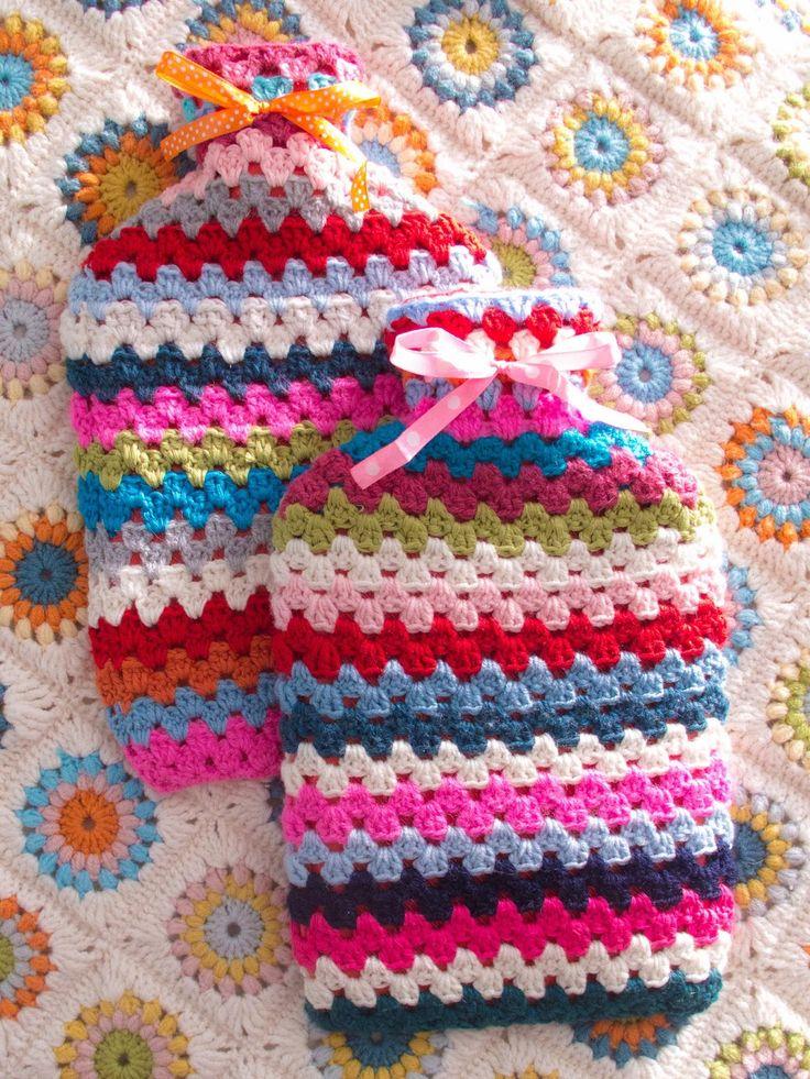 free pattern, crochet hot water bottle cosy, crochet, granny stripe