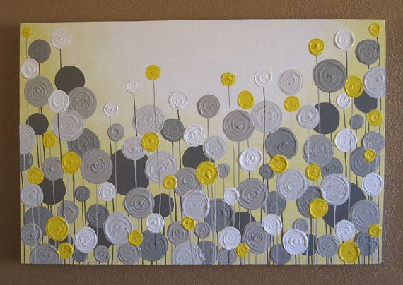 Yellow And Grey Wall Art Textured Painting Abstract Flowers Large 24x36 Acrylic On Canvas Etsy 269 00 Works Pinterest