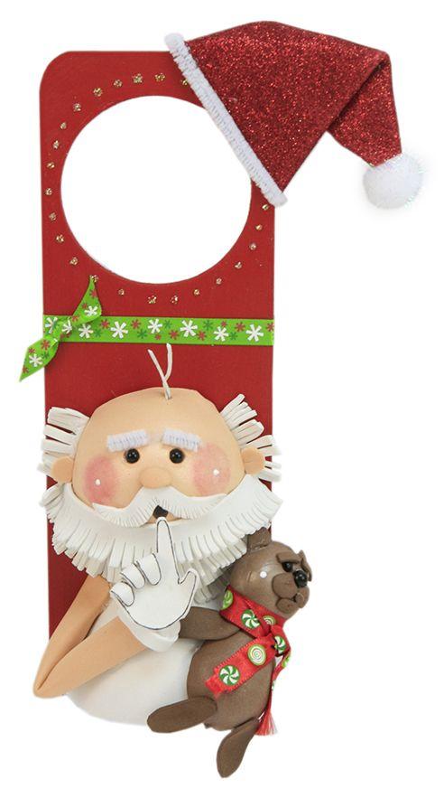 Adorno para puerta picaporte santa claus navidad for Puertas decoradas santa claus