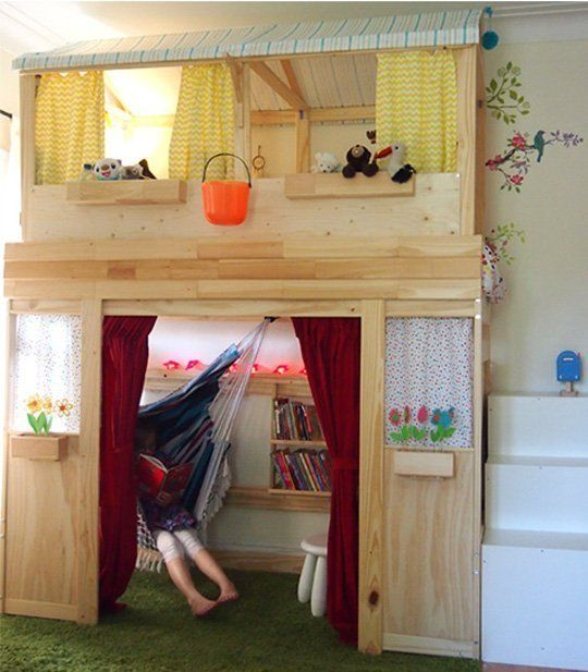 Before & After: Plain Jane IKEA Bunk Bed To Indoor Kids Cabin  Something similar for B or will he outgrow too fast?