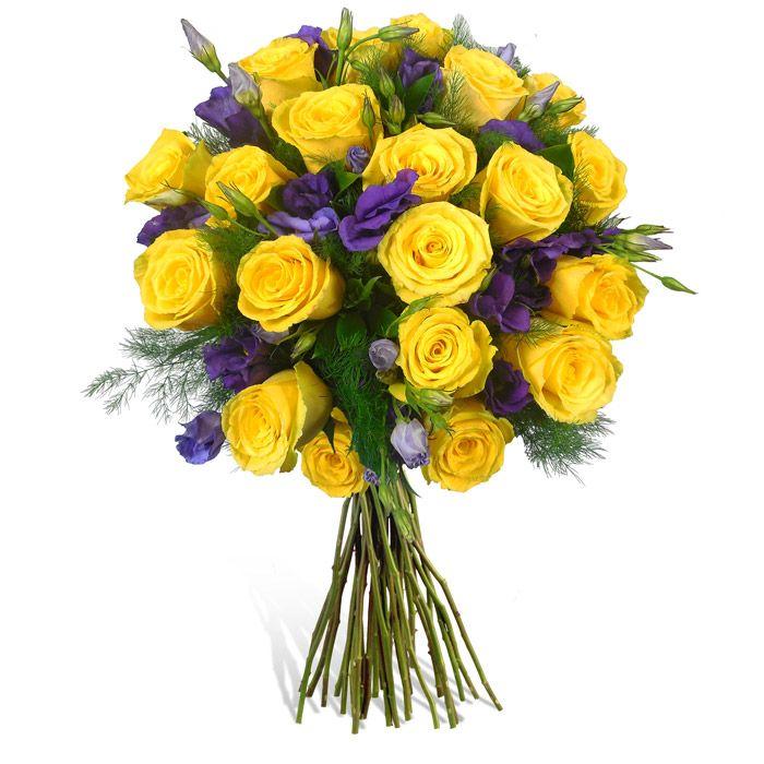 Buchet trandafiri galbeni si lisianthus mov