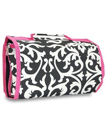 """Womes Hanging Travel Cosmetic Bag - Black and White Damask With Pink Trim by Treasures & Treasures. $15.25. 2 clear zippered compartments. Large zippered make up bag at bottom. 1 large mess zippered compartment. 11"""" by 24"""" open. Adorable black and white Damask Hanging Travel Cosmetic Bag with Pink Trim. Has a large top mess compartment, a large divided clear compartment and a large makeup bag at the bottom. Provides ample space for your cosmetics and travel sho..."""