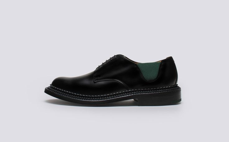 Grenson Shoes & Accessories | The 4 Collection – Four Mens Derby in Black Rub Off Calf Leather - Side View