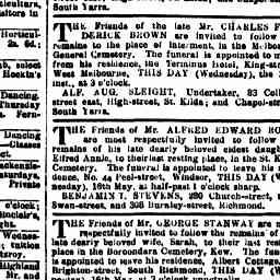 STANWAY, Sarah (1888) Funeral notice. The Age, 16 May 1888, p. 6, 'Funeral notices'.
