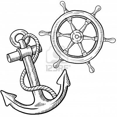 11575075-doodle-style-ships-anchor-and-wheel-illustration-in-vector-format.jpg (400×400)