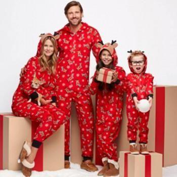 Deer Pattern Red Hoodie Top and Pants Family Matching Pajamas Set