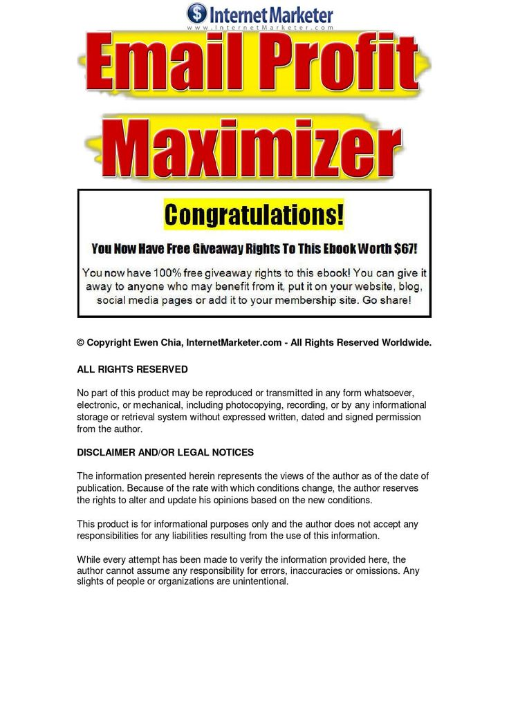 Email Profit Maximizer The email profit maximizer report teaches effective strategies to increase your online business profits - Top 30 proven e-mail follow up marketing strategies to get you started on the right path to becoming a highly successful e-mail marketer in your online business.