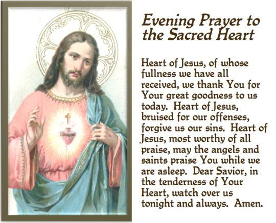 Evening prayer to the Sacred Heart of Jesus