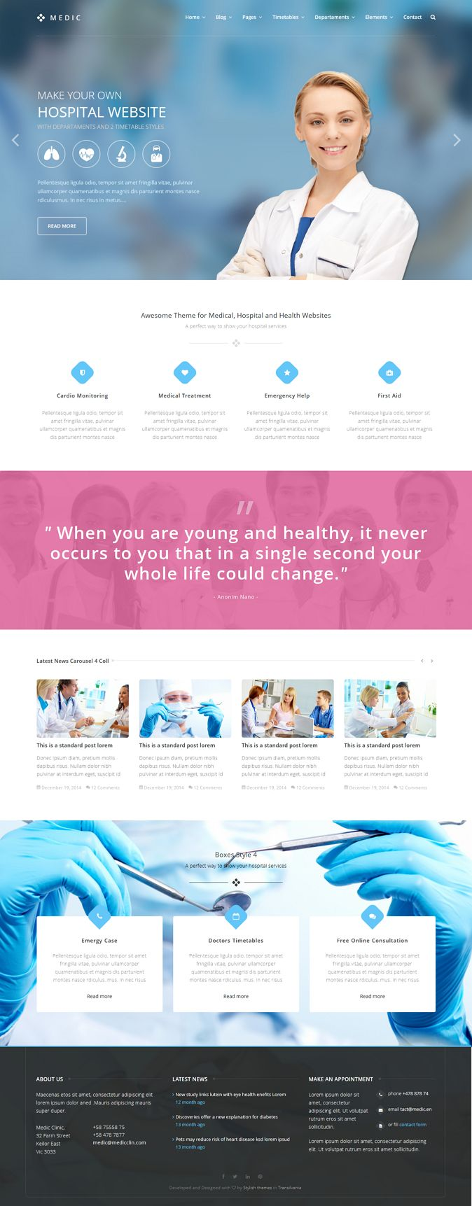 Medic is an HTML template that will help you to make a Medical, Health or Hospital website. In this pack of 57 HTML you will find 2 styles...