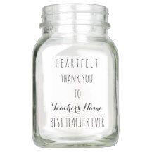 Heartfelt Thank You Best #Teacher Ever Typography Mason Jar #Giftideas