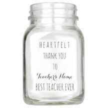 Heartfelt Thank You Best #Teacher Ever Typography Mason Jar #Giftideas