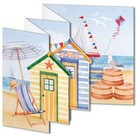 Lovely tri-fold Phoenix Trading beach hut greetings card.  £1.75 or save 20% when you buy 10 or more cards of any design.
