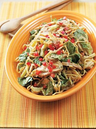 Just about everyone loves sesame noodle salad, including me. This delicious version improves on the traditional one because it uses a mixture of creamy peanut butter and sesame oil in place of the customary sesame paste. The resulting dish is lighter, not only because the noodles are more delicately coated with the dressing, but because there's less of them in relation to the chicken and veggies. Drink with a bright, exotic-fruit Sauvignon Blanc, like a Mulderbosch from South Africa.
