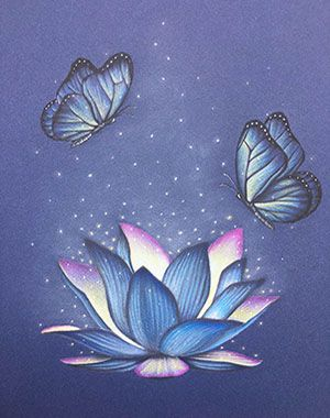 Beautiful blue and purple lotus flower lighted by magic ...