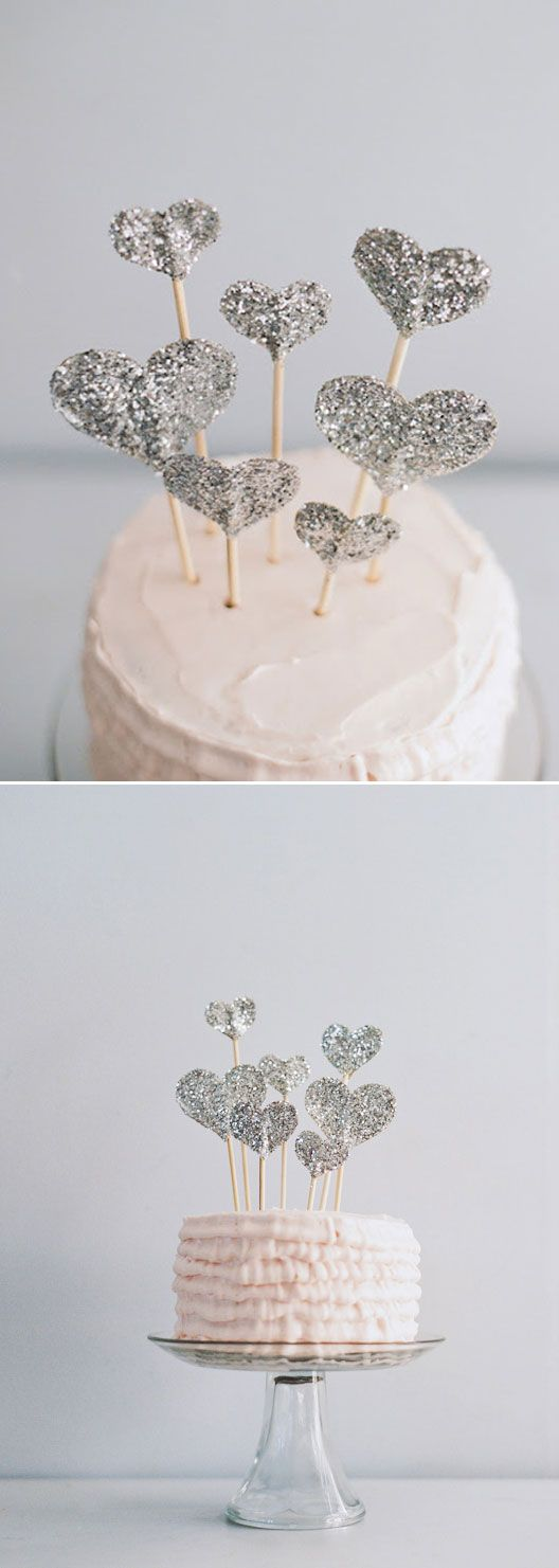 diy I like how simple the cake is, but how good it looks. Just a glitter heart on a stick, multiplied can do so much to a plain iced cake.