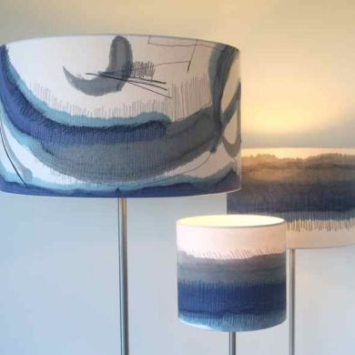 Painted and Stitched lampshade