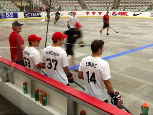 Brad Marchand Patrice Bergeron and Jordan Eberle practicing for Team Canada.