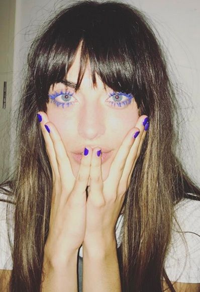French model Louise Follain wearing bright-blue mascara | ASOS Fashion & Beauty Feed