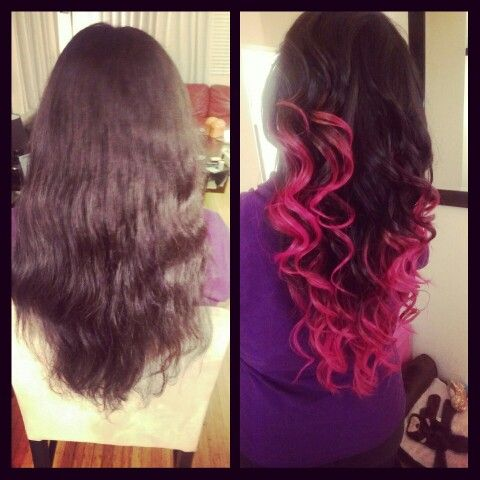 Hot pink ombre and hairstyle by me