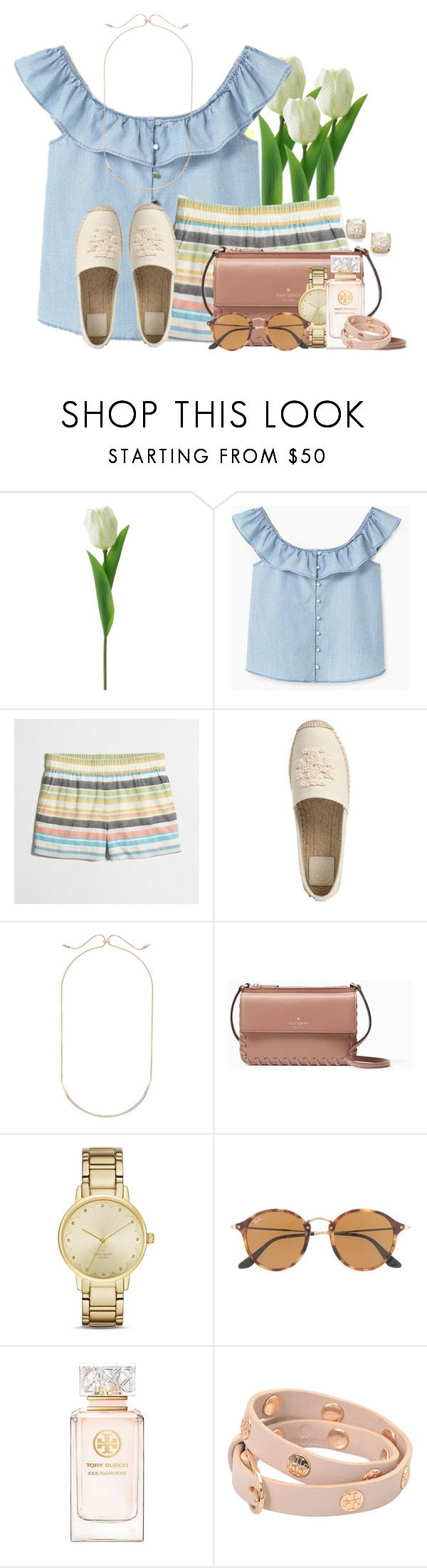"""Puppy store pics in items💗💗"" by flroasburn ❤ liked on Polyvore featuring MANGO, J.Crew, Tory Burch, Kendra Scott, Kate Spade and Ray-Ban"