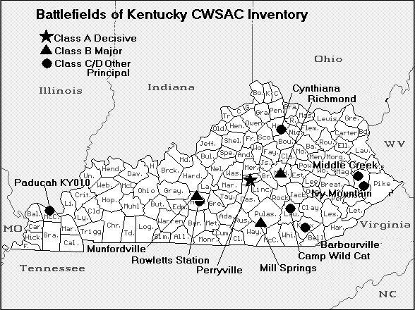 Kentucky Civil War Battlefield Map