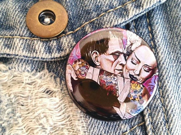 Frankenstein Pin Badge Buttons-1.5 inches-Gothic Pinback Buttons-Monster Badge