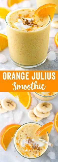 Orange Julius smoothie made with whole fruits, yogurt, orange juice and ground flaxseed. Each sip is naturally sweetened and contains healthy nutrients like fiber, vitamin C, and protein.  via /foodiegavin/